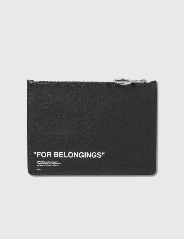 Off-White Calfskin Quote Pouch
