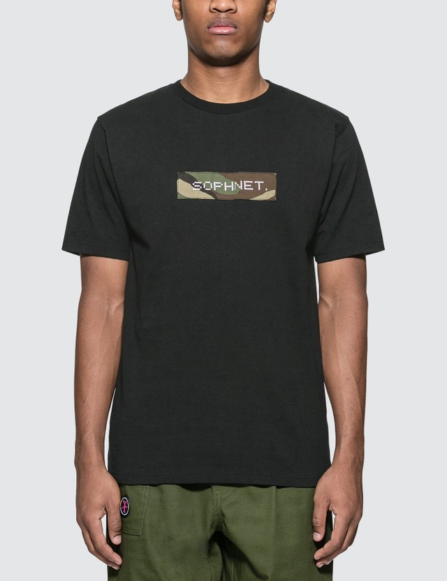 SOPHNET. Camouflage Box Logo T-Shirt Black Men