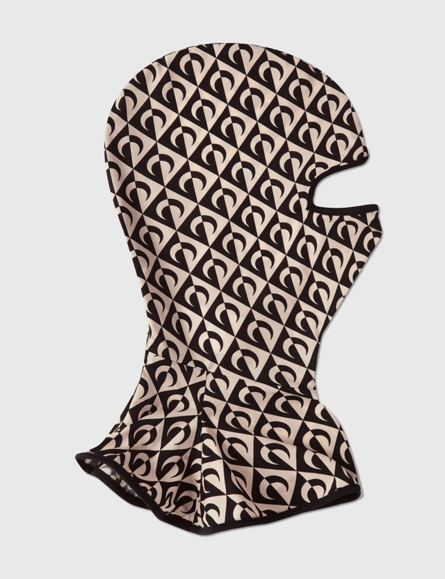 Marine Serre Branded Second Skin Zipped Balaclava Lozenge 00 Black On Tan Lozenge Women