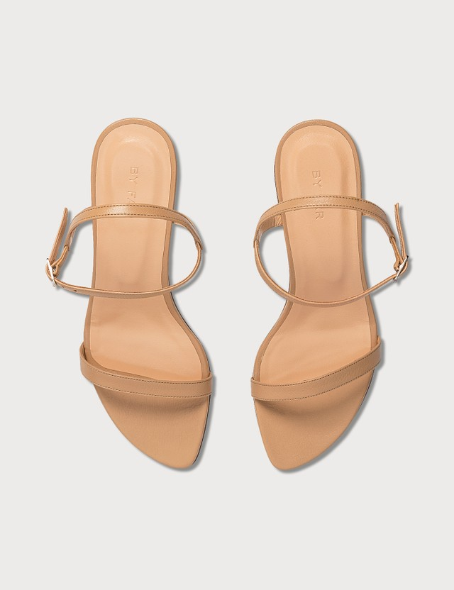 BY FAR Magnolia Nude Ostrich Embossed Leather Sandals