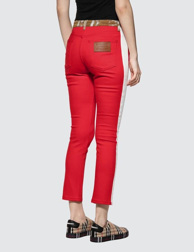 Burberry Deer Print Trim Japanese Denim Jeans Brigh Red Women
