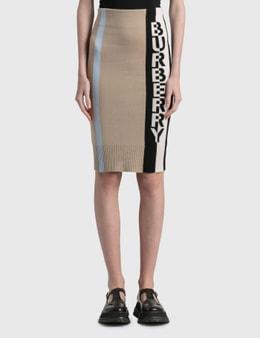 Burberry Logo Merino Wool Blend Jacquard Skirt