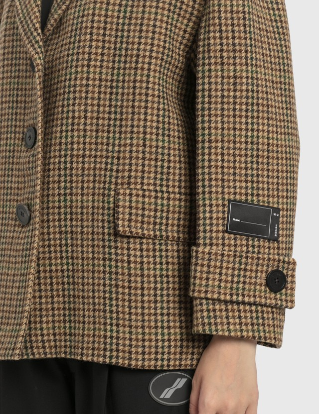 We11done We11done Oversized Plaid Wool Jacket Brown Women