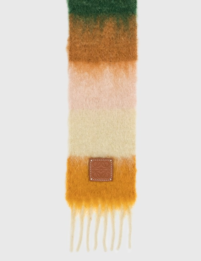 Loewe Striped Scarf In Mohair Orange/yellow Women