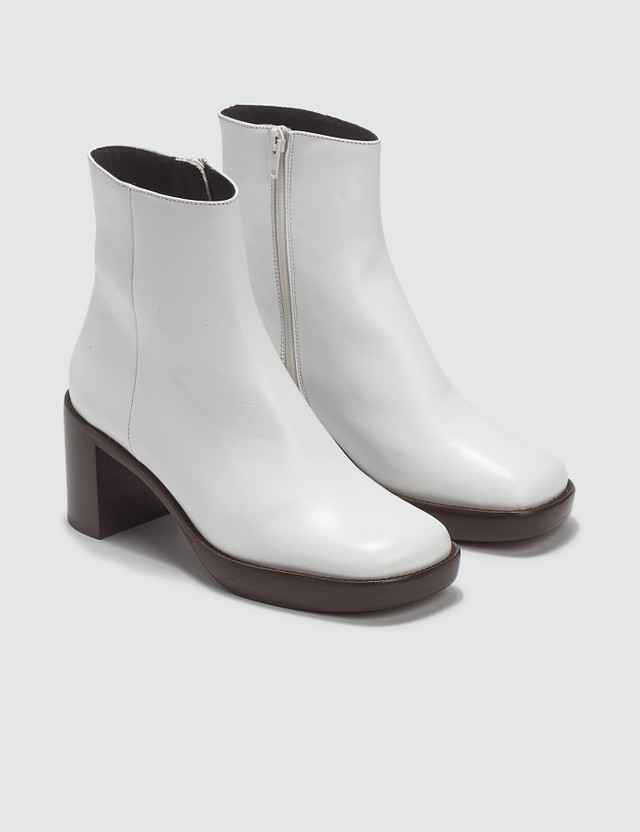 BY FAR Ellen White Leather Boots Whtie Women