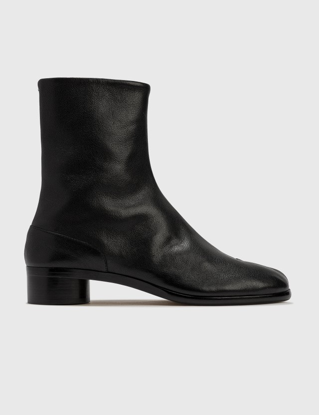 Maison Margiela Tabi Leather Ankle Boots Black/ecru/black Men