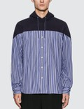 Sacai Striped Cotton Shirt Hoodie Navy X Blue Stripe Men