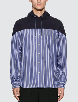 Sacai Striped Cotton Shirt Hoodie
