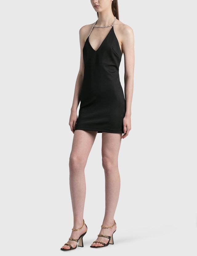 Area Asymmetrical Crystal Halter Mini Dress Black Women