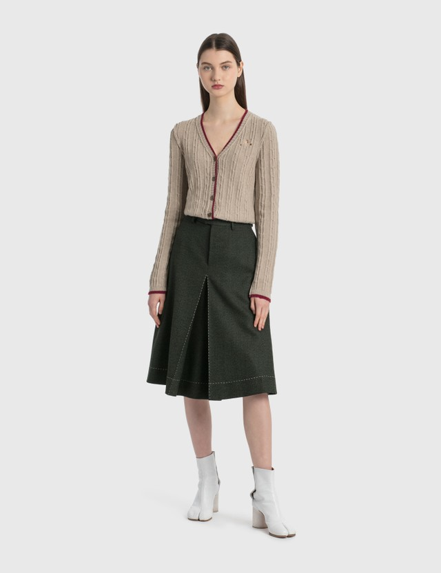 Maison Margiela Wool Canvas Skort Dark Green Women