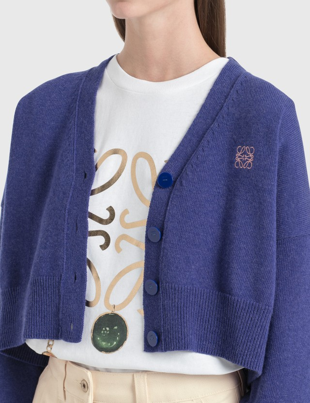 Loewe Anagram Cropped Cardigan Blue/geranium Women