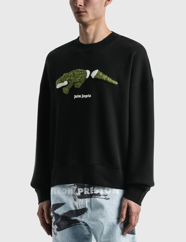 Palm Angels Croco Crew Sweatshirt Black Men