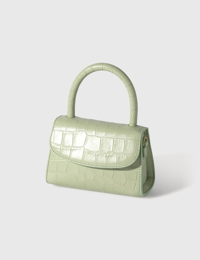 BY FAR Mini Sage Green Croco Embossed Leather Bag Sage Green Women