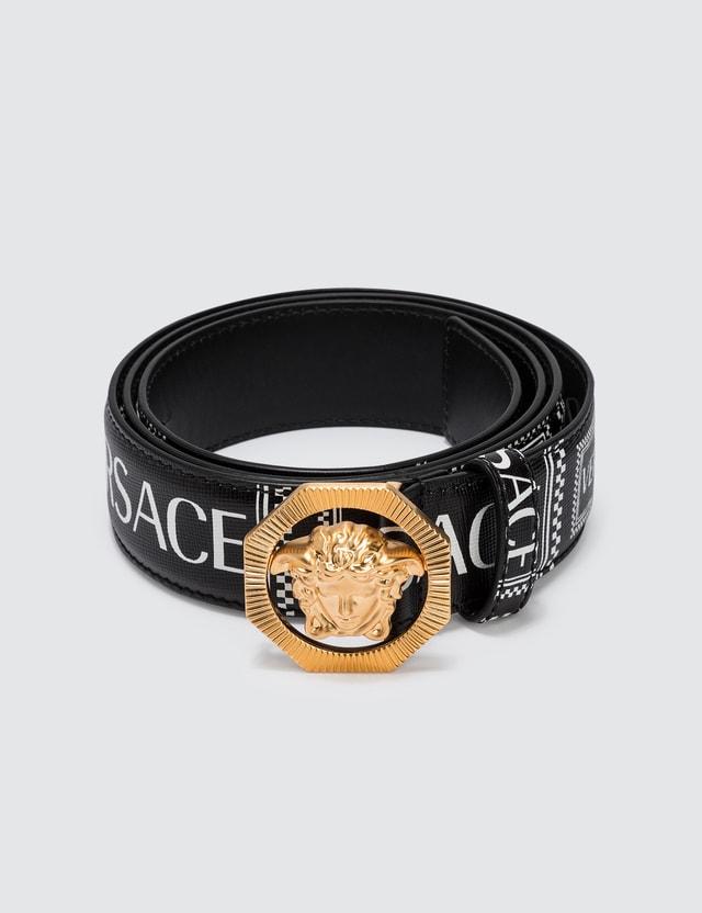 Versace 90s Vintage Logo Leather Belt