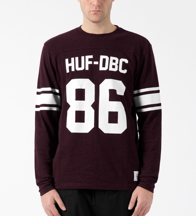 Huf - Wine Heather HUF Wrecking Crew L S Football Jersey  ee51940e2