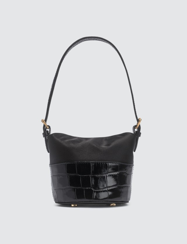 BY FAR Mini Jamie Black Croco Embossed Leather And Black Silk Top Handle Bag