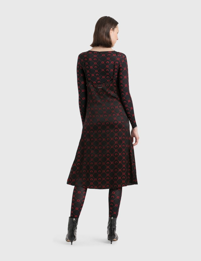 Marine Serre Jacquard Silk Bias Dress 04 Black Print Women
