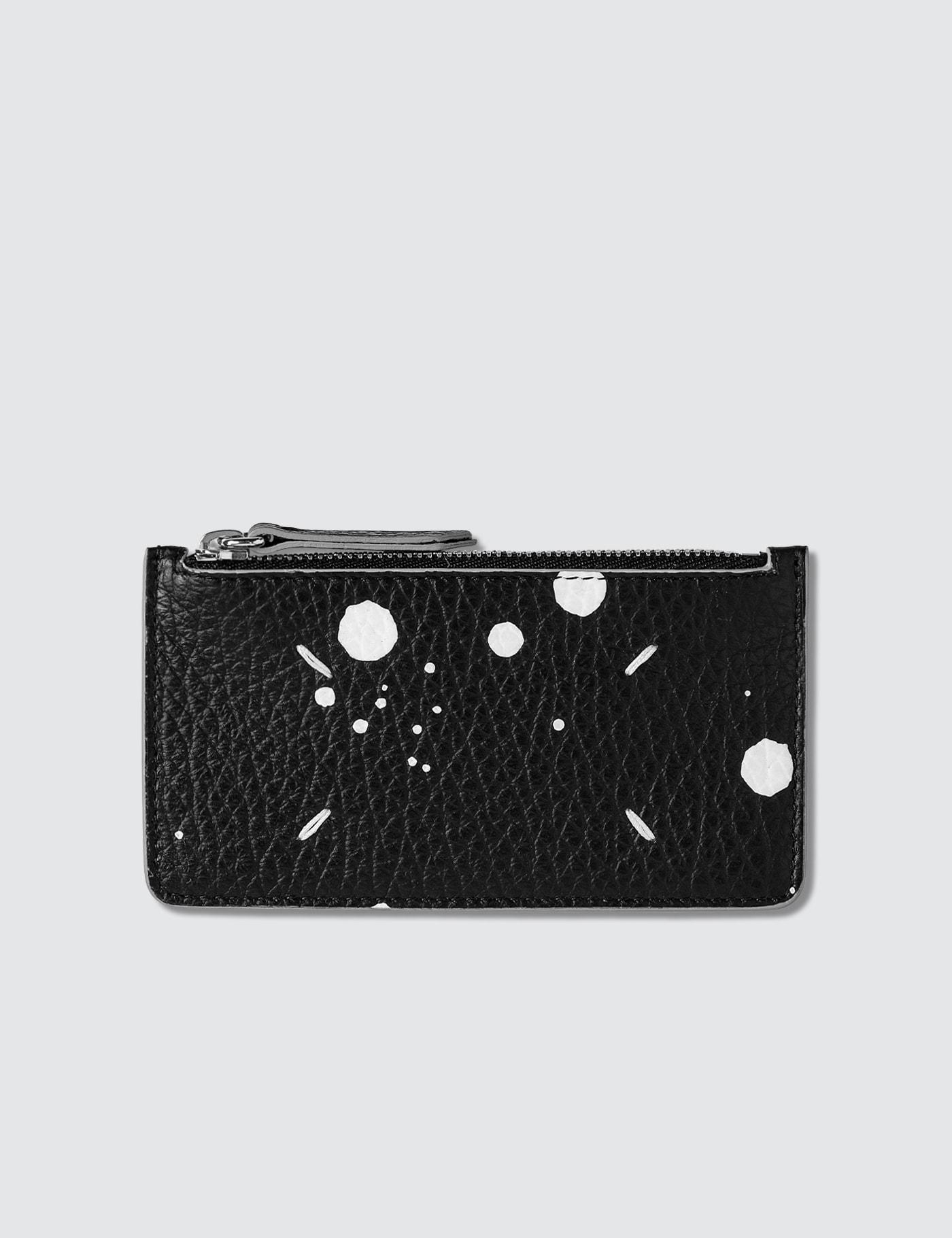 Zip Spray On Leather Card Holder