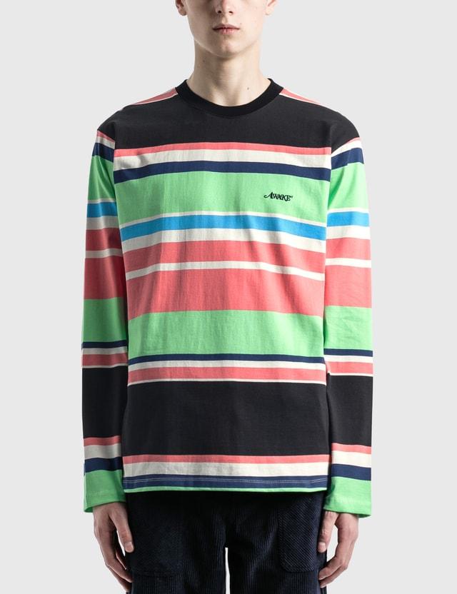 Awake NY 자수 로고 스트라이프 긴소매 티셔츠 Black Men