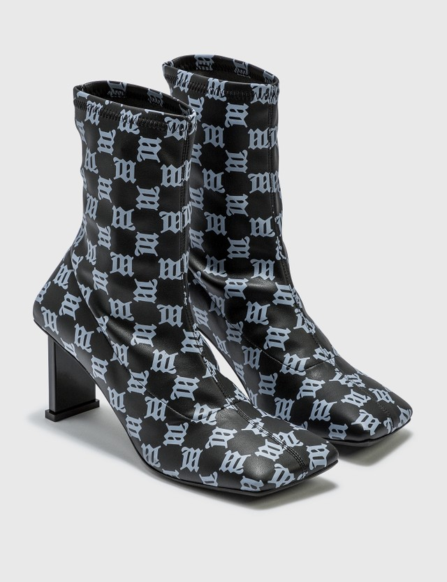 Misbhv Square Toe Monogram Ankle Boots Black Women