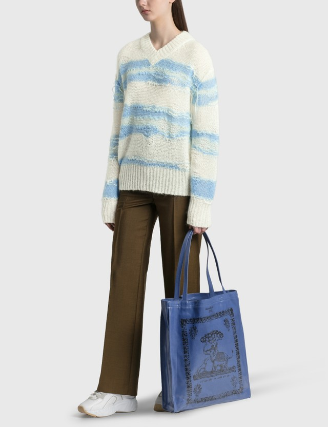 Acne Studios Keren Irregular Stripe Knit Pullover White/blue Women