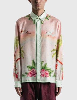 Casablanca Surf Club Midnight Print Silk Shirt