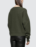 Unravel Project Rib Oversize Chopped Crew Dark Green Women