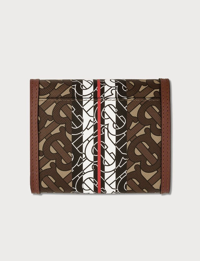 Burberry Small Monogram Stripe E-canvas Folding Wallet