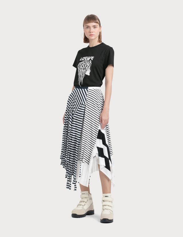 Loewe Stripe Jersey Skirt Navy/white Women