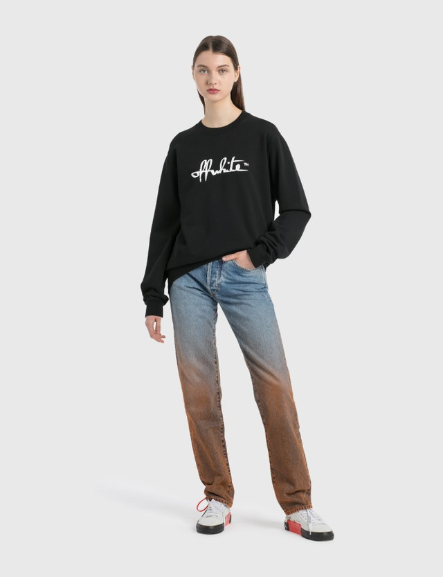 Off-White Script Regular Crewneck Black White Women
