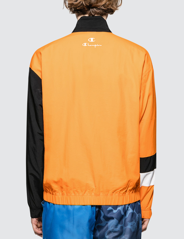 Champion Reverse Weave Script Logo  Track Jacket Orange/navy/white Men