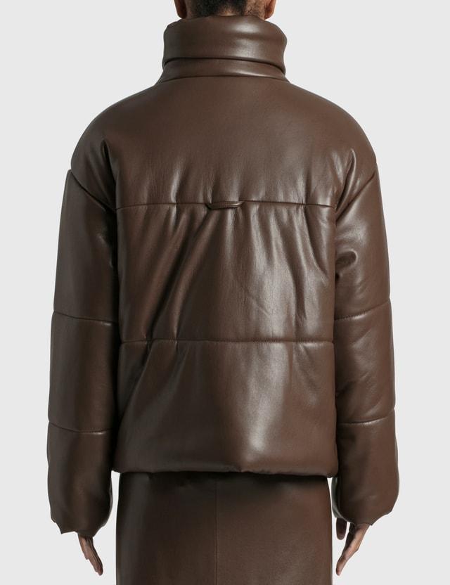 Nanushka Hide Puffer Jacket Dark Brown Women
