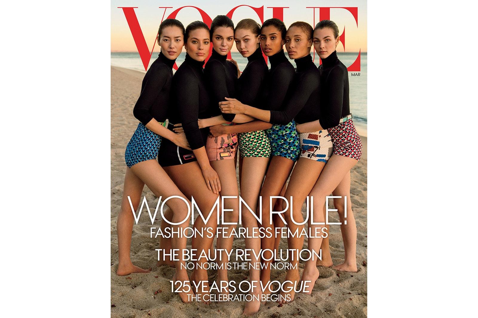 Ashley Graham Kendall Jenner Gigi Hadid Vogue 2017 March Cover