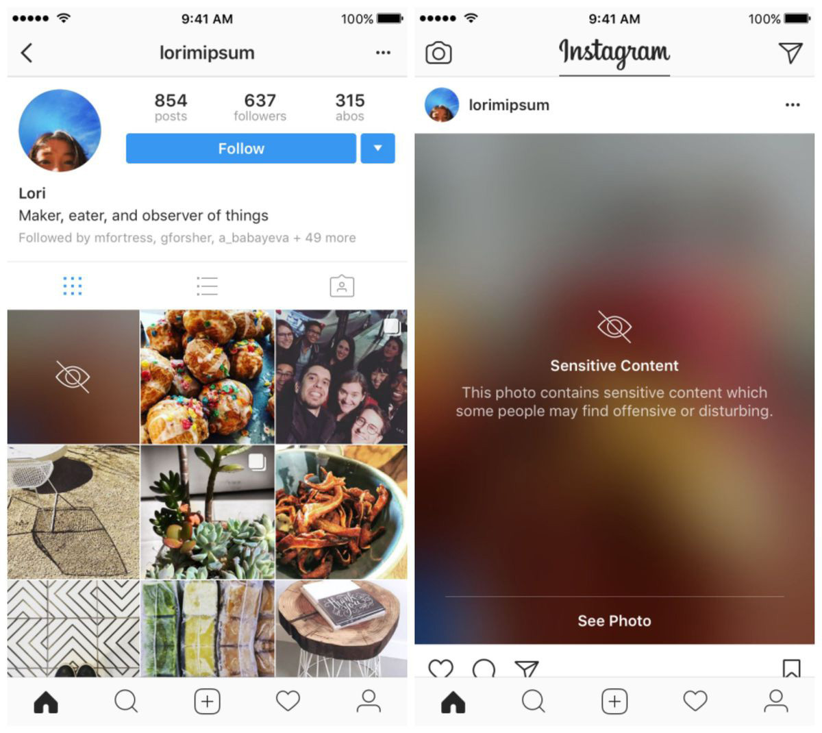 Instagram Sensitive Content Warning