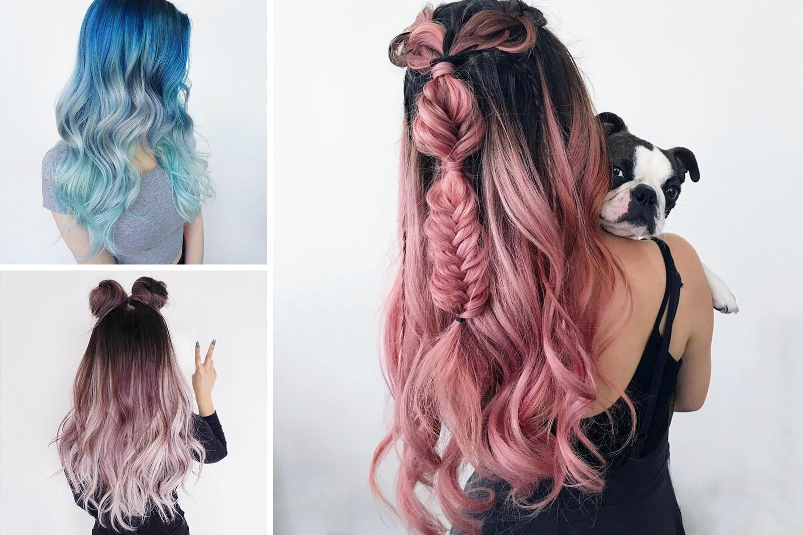 HYPEBAE Instagram Hairgoals Hairinspo fuck bad Hair Color Unicorn Rainbow Pastel snitchery ninautashiro fuhzz notep