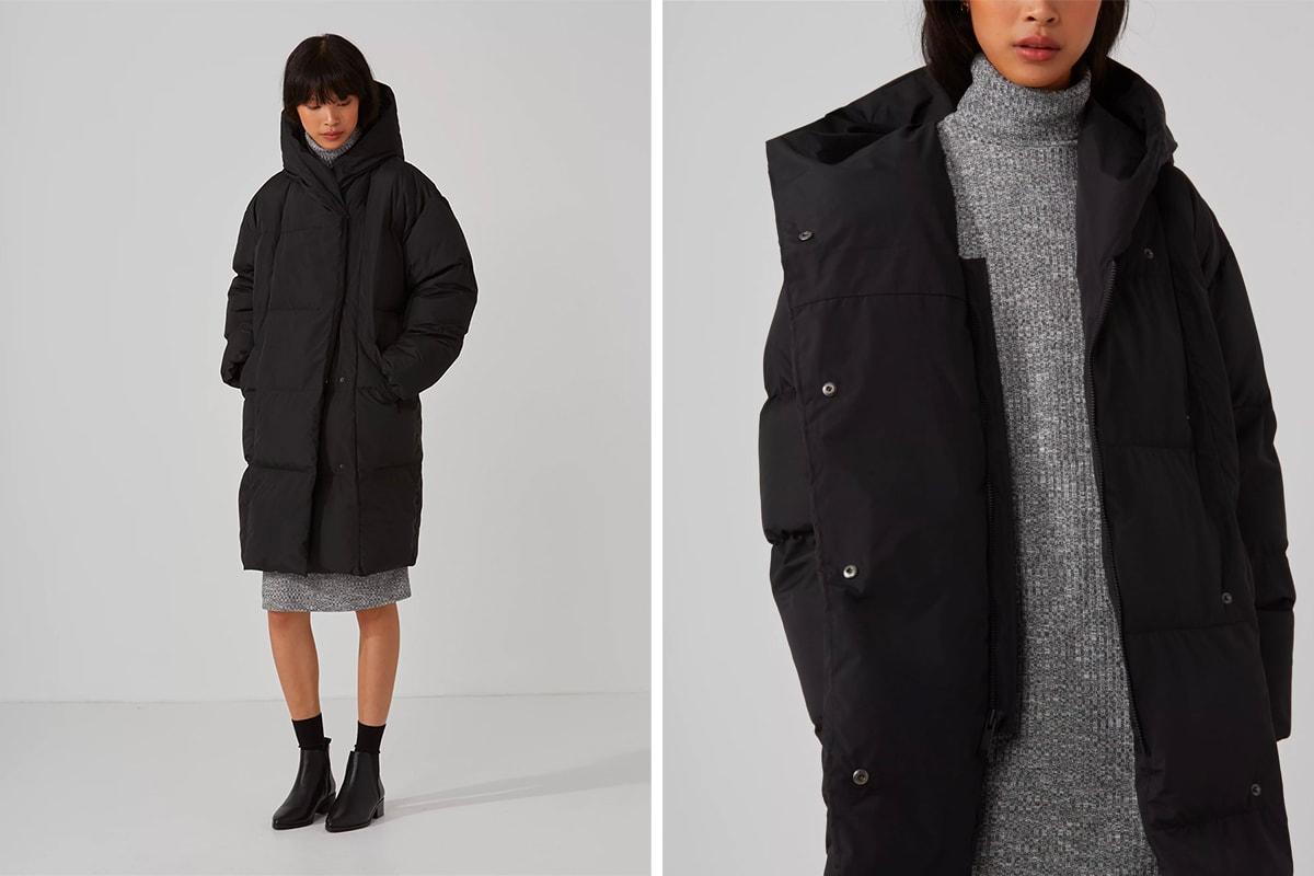Frank and Oak Water Resistant Long Puffer Jacket True Black Black Friday Sale Vetements Dupe Editors Pick