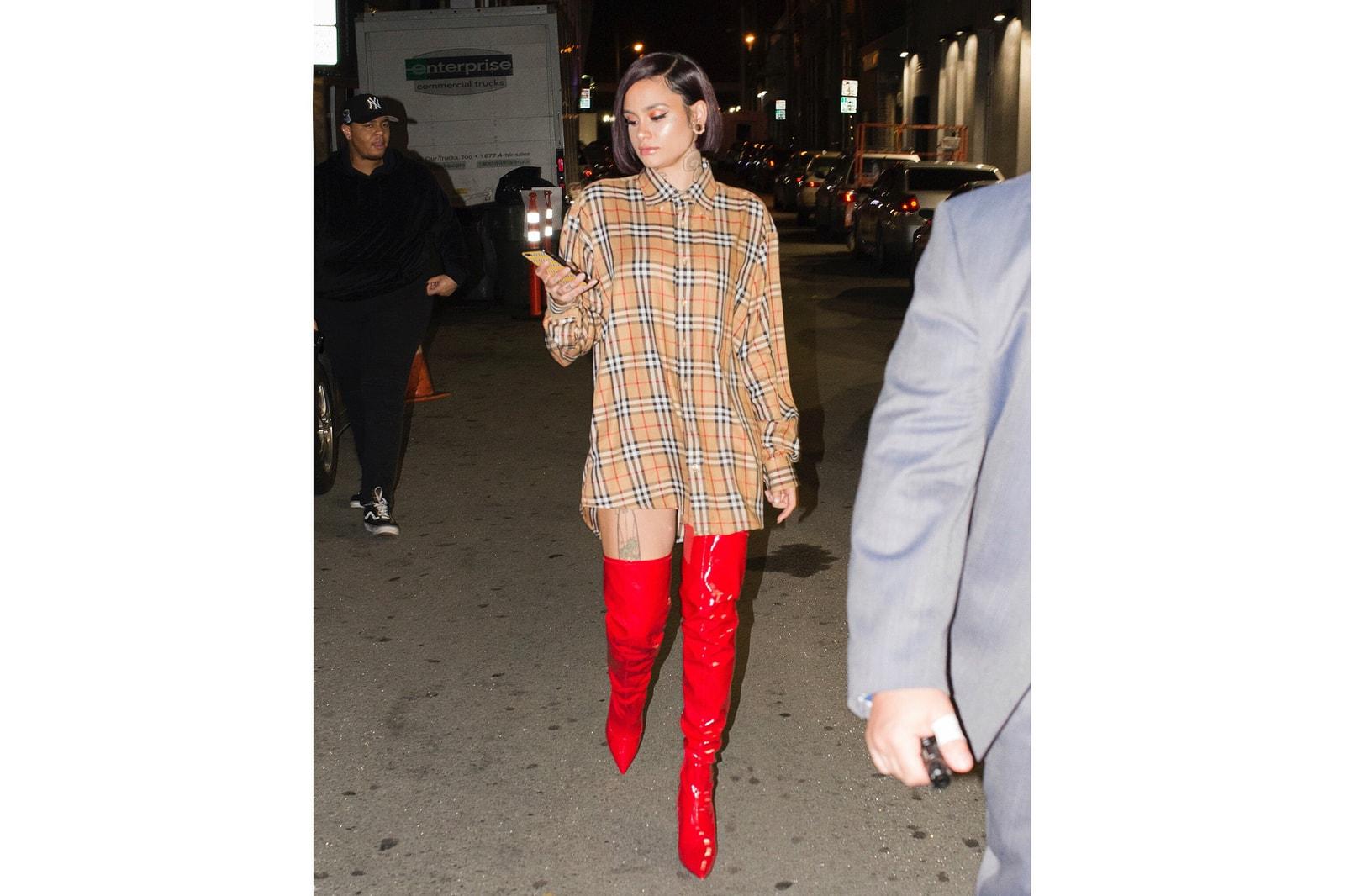 Burberry Vintage Check Shirt Scarf Trench Coat Pants Skirt Cap Rihanna Kehlani Ava Nirui Custom Nike
