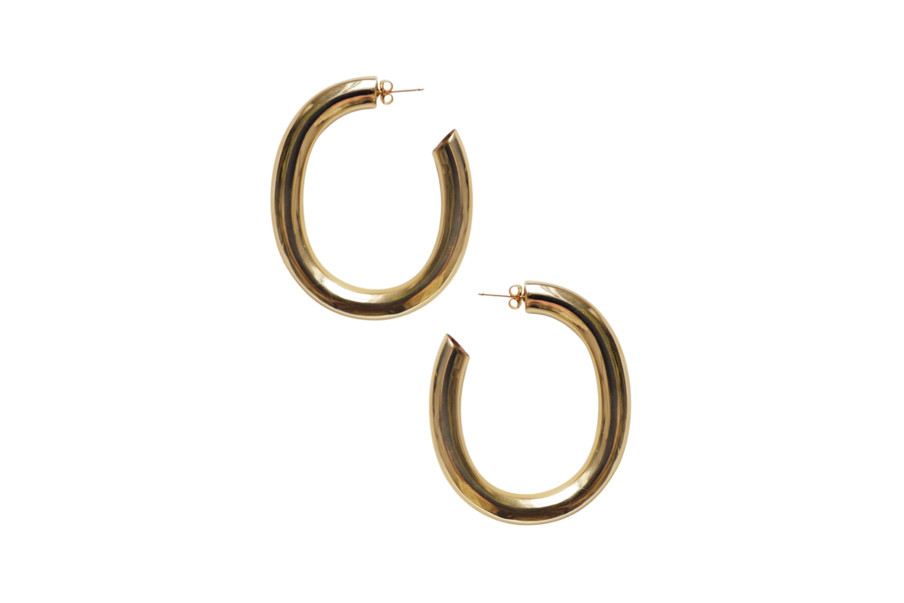 laura lombardi jewelry handmade curve earrings brass gold fill