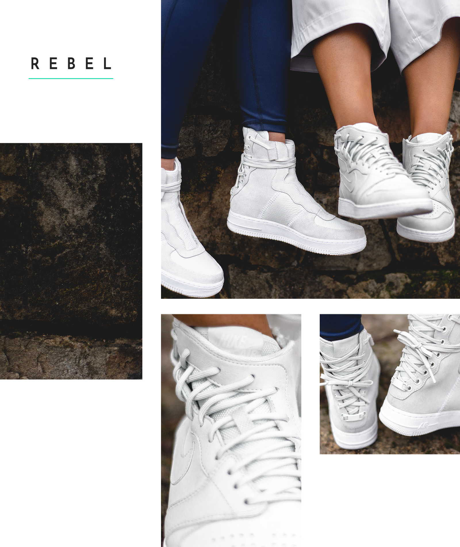 41cfb2f190b4 Nike The 1 Reimagined Rebel Air Force Air Jordan High Top Boot Sneaker  Laces Back White