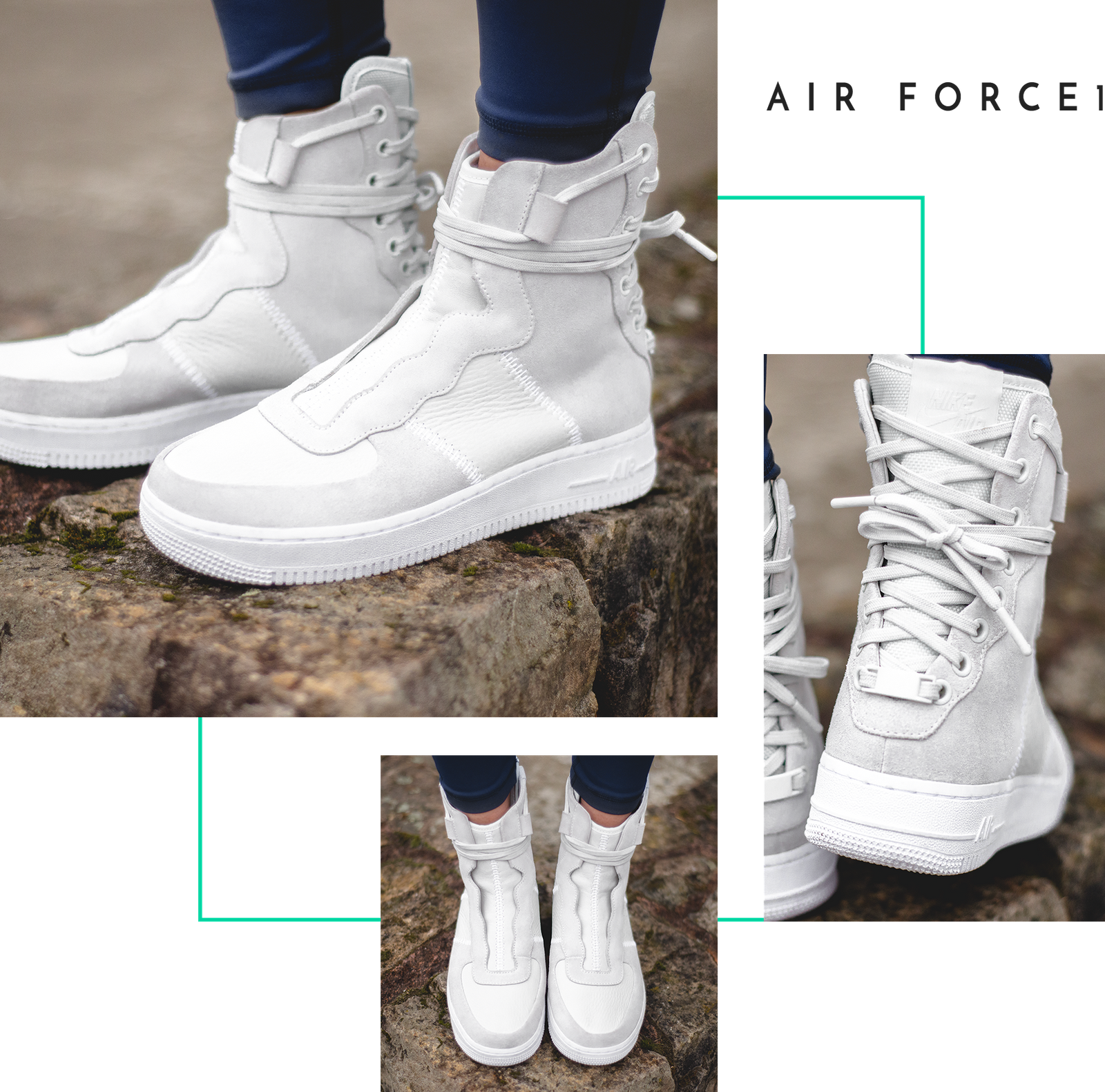 quality design f0364 b1500 Nike The 1 Reimagined Rebel Air Force Air Jordan High Top Boot Sneaker  Laces Back White
