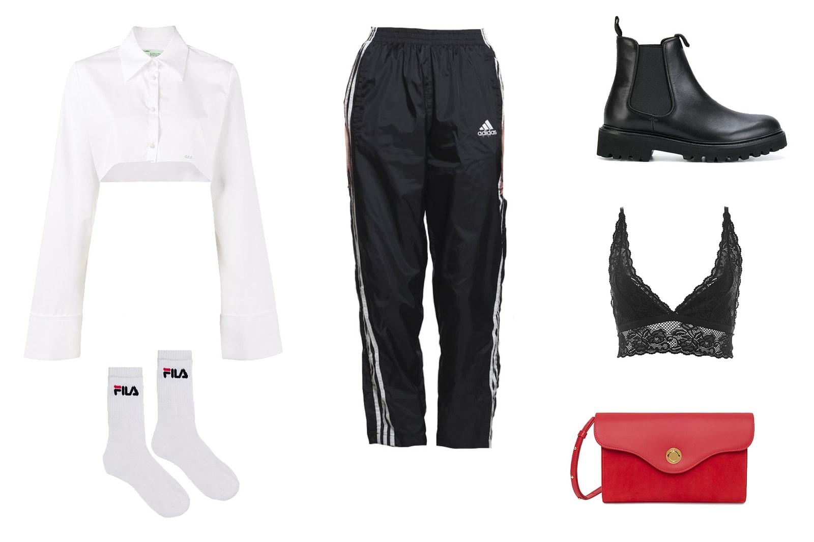 How to Wear Track Pants Vintage Adidas Sporty Retro Button up Black Athleisure Luxury Off-White Mansur Gavriel Nike Fila Kappa