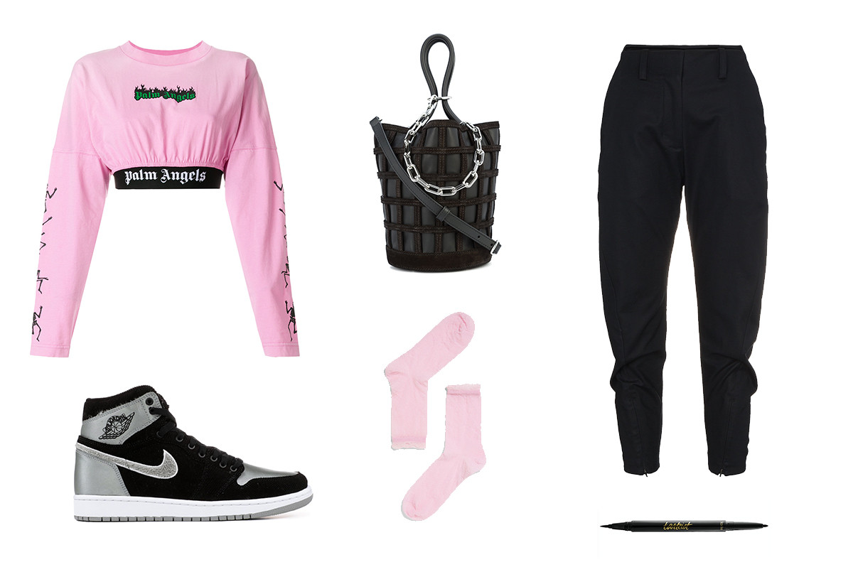 Style Guide How to Wear the Air Jordan 1 Sneaker Aleali May Palm Angels Streetwear Inspiration Outfit Guide Sweatpants Basketball Nike AJ1