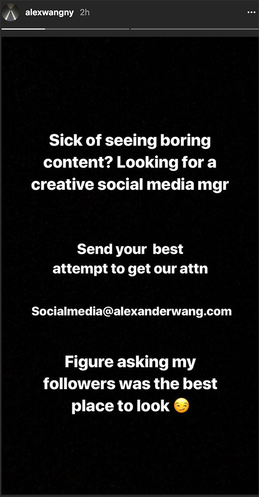 Alexander Wang Creative Social Media Manager Instagram Recruitment Jobs Fashion Designer Marketing How to Apply Media Runway Show Finale Career