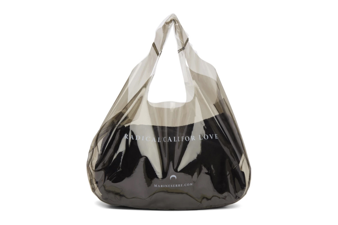Expensive Designer Plastic Shopper Bags Shopping PVC Transparent Translucent see-through Raf Simons Celine Voo Store Marine Serre CDG Jil Sander COMME des Garcons where to buy
