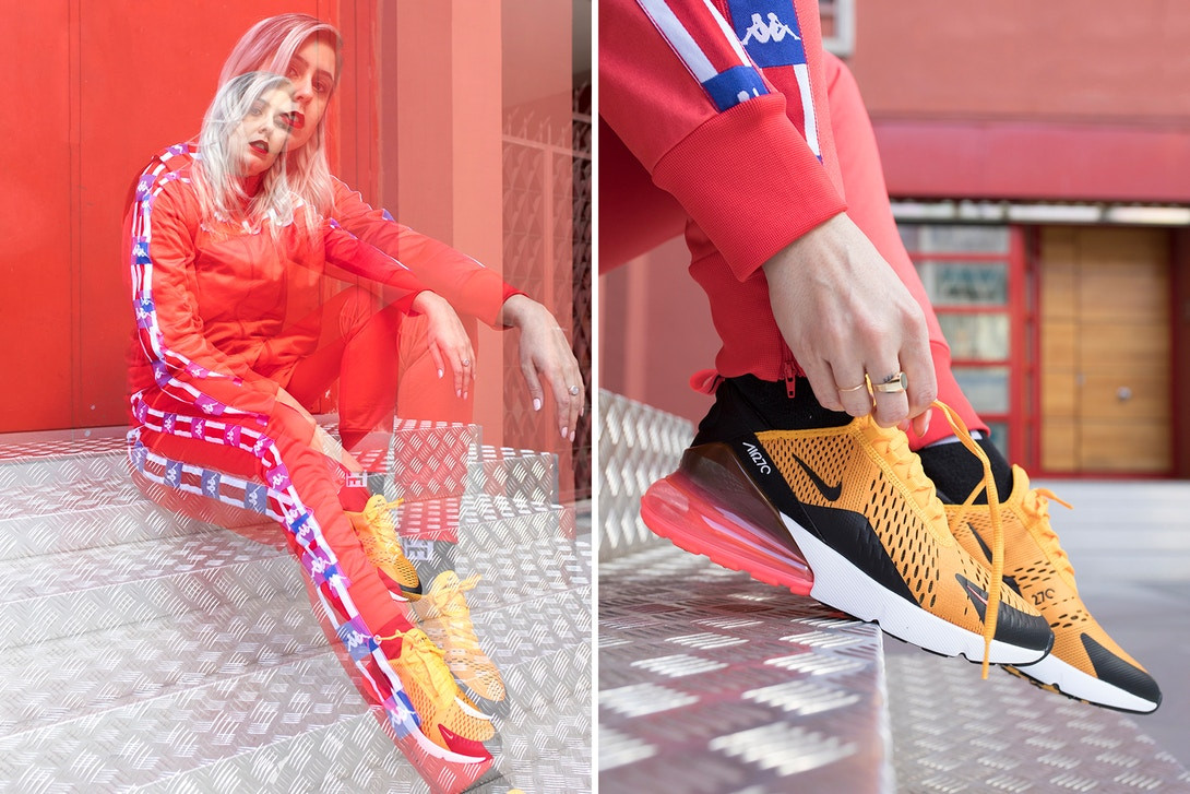 Nike Air Max 270 White Solar Red Sanam Jay Versace Editorial