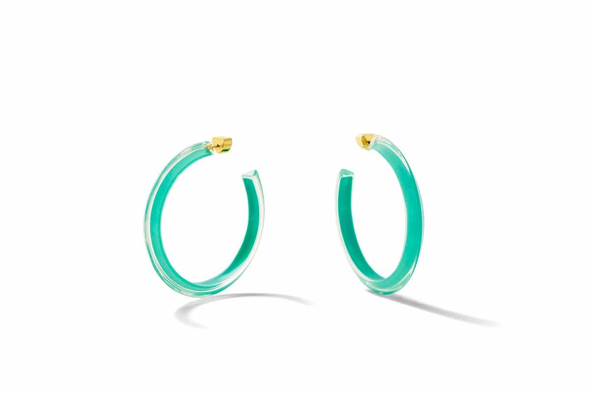 Emily Ratajkovski Alison Lou Jewelry Campaign Lucite Hoop Earrings Size 90s Lookbook Jewelry