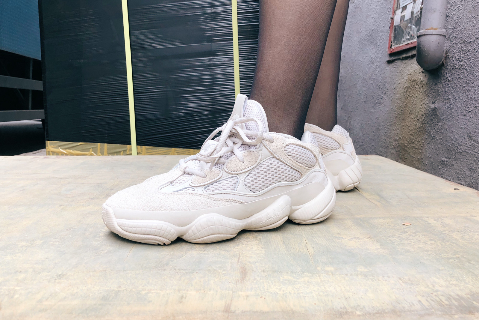 hypebae kicks review adidas originals yeezy desert rat 500 blush on foot