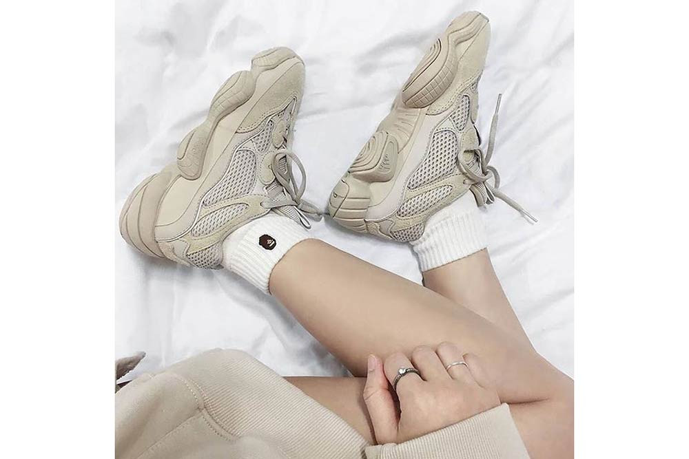 Kanye West adidas YEEZY 500 Blush On Foot