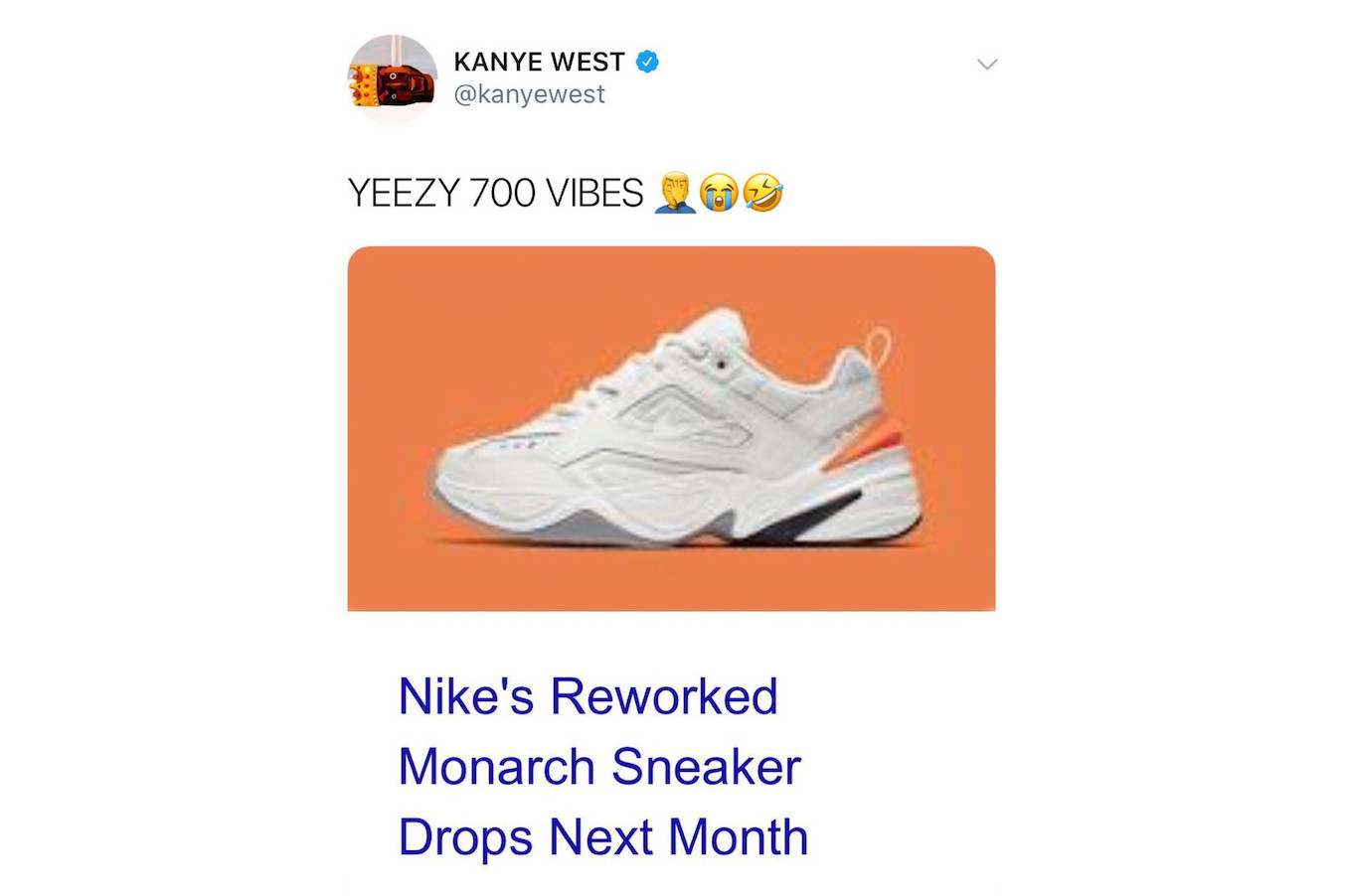 kanye west twitter tweet shade nike m2k tekno adidas originals yeezy boost 700 wave runner