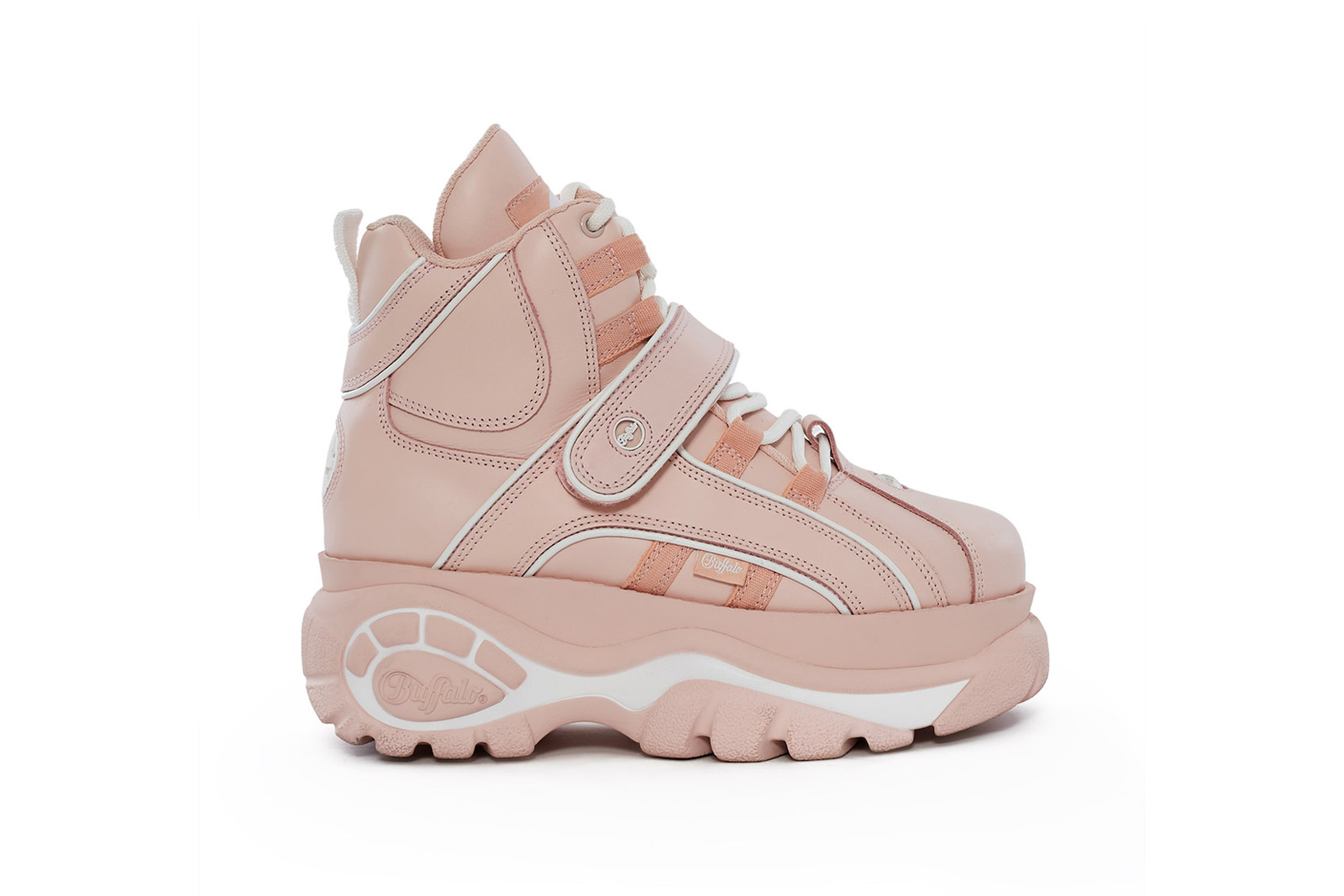 Buffalo London Opening Ceremony Platform Sneakers Low-Top High-Top Baby Pink Metallic Silver